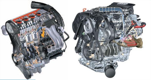 Двигатели R 4 и V6 от ауди